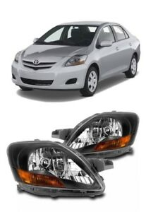07 12 Toyota Yaris Sedan Black Bezel Headlights Lamps Replacement 2007 2012 Set