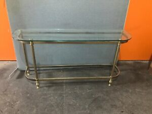 Glass And Brass Hall Or Sofa Console Entry Table