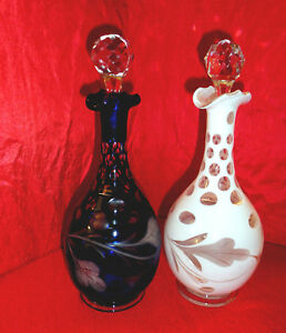 Victorian Decanters Cut To Clear Pair Cobalt Blue White
