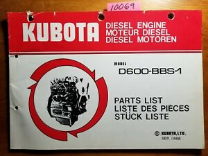 Kubota D600 bbs 1 Diesel Engine Parts List Manual 97898 50440 07909 52111 9 88