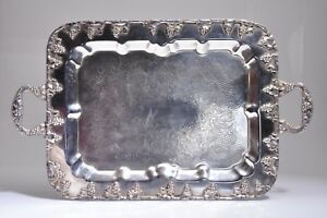 Antique Silver Plate On Copper 2 Handled Serving Tray W Grape Motif