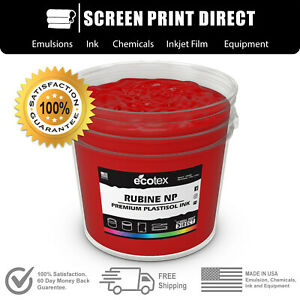 Ecotex Rubine Red Premium Plastisol Ink For Screen Printing All Sizes