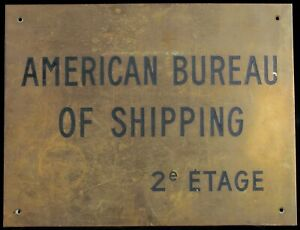Antique Nautical Brass Plaque American Bureau Of Shipping Abs Merchant Marine
