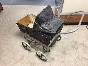 Antique Chrome Playtime Baby Doll Stroller Carriage Buggy Vintage 1950s
