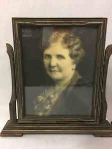 Antique Wood Picture Frame Hinged On Swivel Stand W Old Photograph Of Woman 7x9