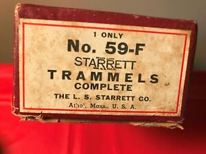 Vintage Starrett 59 F Trammel Set Complete In Original Box Machinist Welder