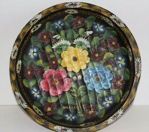 Vintage Hand Crafted Mexican Folk Art Toleware Wood Batea Bowl Plate Tray 15