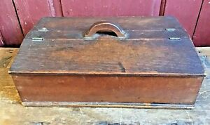 Antique Pennsylvania Walnut Wood Spice Box Carrying Handle 8 Compartments