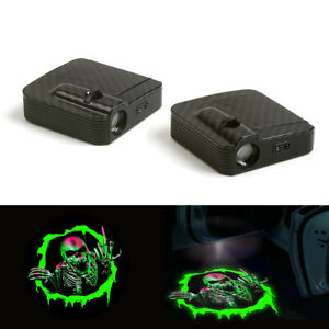 Wireless Green Skull Logo Car Door 12v Led Laser Projector Ghost Shadow Light 2x