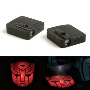 2x Car Door Wireless Led Laser Projector Shadow Light Transformers Autobots Logo