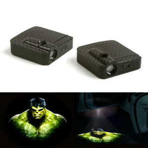 Hulk Logo Car Door Lamp 12v Led Laser Projector Ghost Shadow Light 2x Wireless