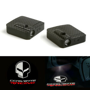 Corvette Racing Logo Car Door Wireless 12v Led Laser Projector Shadow Light 2x