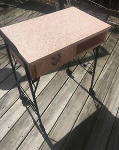 Vintage Formica Pink Gold Swirl Table Cast Iron Base Mid Century Fabulous
