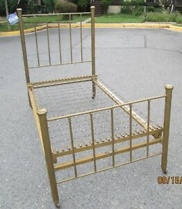 Antique Brass Bed Spring Foster Ideal Bed Back 56 Foot 34 Width 43 1893