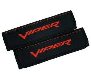 Dodge Viper Red Embroidery Car Seat Belt Covers Leather Shoulder Pads 2 Pcs