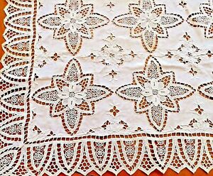 Antique Tablecloth Linen White Needle Lace Embroidered Reticella Handmade Panel