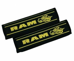 Dodge Ram Super Bee Embroidery Car Seat Belt Covers Leather Shoulder Pads 2 Pcs