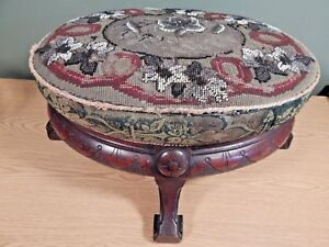 Antique Rococo Revival Black Walnut Footstool With Beaded Needlepoint Top