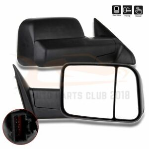 For 2010 2015 Dodge Ram 1500 2500 3500 Pair Fold Manual Tow Mirrors Black