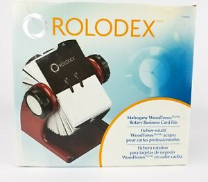 Rolodex Open Rotary Business Card File Wood Mahogany Open Box New