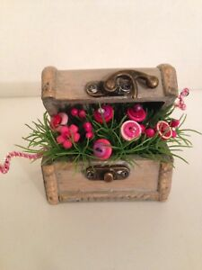 Vtg Button Bouquet Chest Country Rustic Prim Shabby Chic Home Decor
