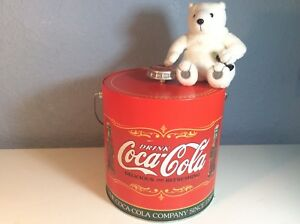 COCA-COLA Insulated Tin Ice Bucket Cooler with Soda Cap Lid And Handle FREE Bear