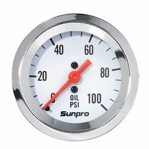 Sunpro Gauge Styleline Oil Pressure 0 100 Psi 2 In Analog Mechanical