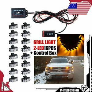 16x Amber Yellow 32 led Emergency Warning Strobe Light Bar Flash Deck dash grill