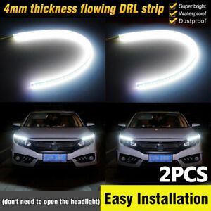 L R 60cm Led Headlight Slim Strip Light Daytime Running Turn Signal White Drl