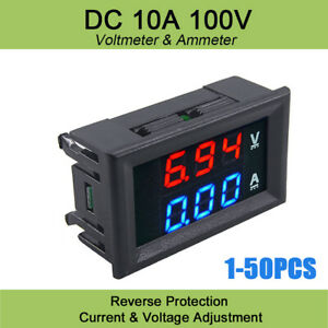 Dual Digital Voltmeter Gauge Led Amp Display Panel Dc 100v 10a Low Volt Meter