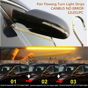 L R 32 Led Amber 12v Car Rear Mirror Flexible Flowing Turn Signal Light Strip Us