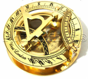 Nautical Brass Pocket Sundial With Magnetic Compass Vintage Style Handmade Gift