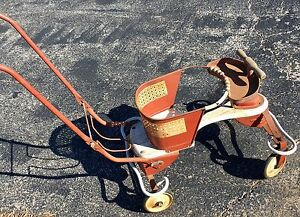 Vintage 1950s Antique White Metal Wooden Baby Stroller Walker 36 X 18 X 17