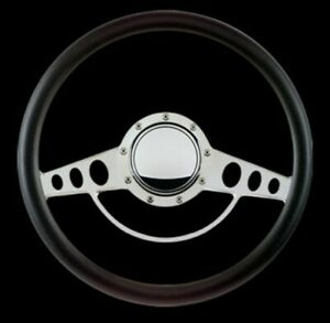Retro Classic Billet Specialties Steering Wheel Polished Kit Black