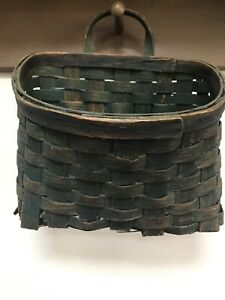 Early Old Primitive Handing Basket Old Gorgeous Green Paint