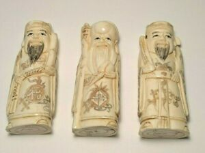 Three Fortune Gods Immortal Vintage Hand Carved 4 In Okimono Set Of 3 959