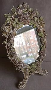 Table Mirror Cast Iron Enamel Heavy Dressing Frame Vanity Roses Wreath