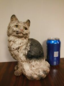 Antique Vintage Hubley Cast Iron Cute Sitting Cat Doorstop Persian Kitten Figure