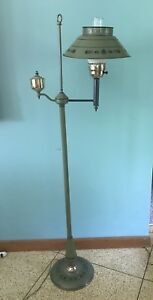 Vtg Green Toleware Arm Floor Lamp Light Stenciled Art Crafts Pa Dutch Amish Ec