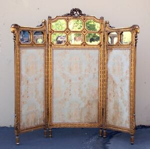 Antique French Silk Fireplace Screen