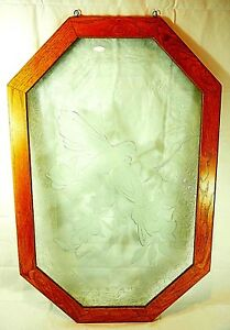 Vintage Etched Glass Pane Doves Bob Smalley Castle Glass Art Framed