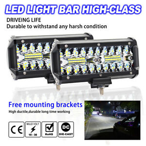 2x 7 Inch 400w Cree Led Work Light Bar Flood Driving Off Road Tractor 4wd Suv