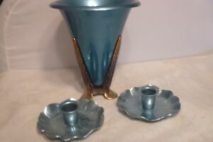 Art Deco Mcclleland Barclay Blue Aluminum Console Set Vase Candle Holders
