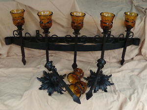 Primitive Rare Antique Wrought Iron Candle Holder 2 Wall Sconces 31 X 10