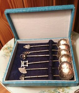 Japanese 4 Coffee Or Demitasse Spoons Bamboo Theme 950 Sterling