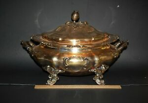 Large Fantastic Antique Sheffield Silver Plate Soup Tureen 19th C England 16 5