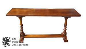 Early 20th C Antique Jacobean Revival Walnut Carved Trestle Table Sofa Console
