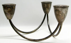Mid Century Modern Duchin Sterling Silver Weighted 3 Candle Holder Candelabra