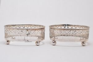 2 Pierced Sterling Silver Salt Cellars Glass Liners No Monos