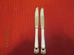 2 1847 Rogers Bros Silver Plate Luncheon Knives Eternally Yours